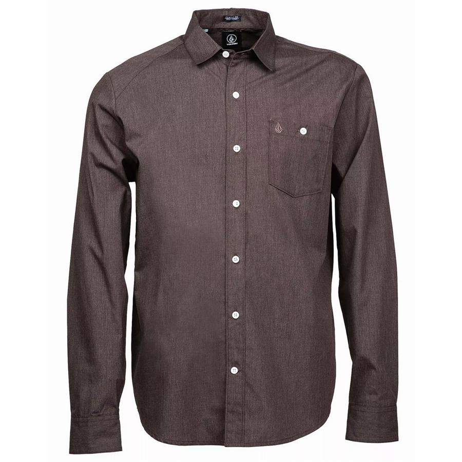 Volcom Everett Solid Long Sleeve Button Down Shirt Evo