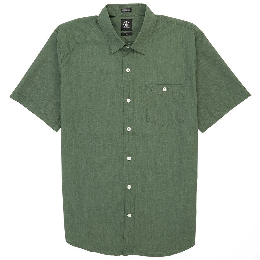 Volcom Everett Solid Short Sleeve Button Down Shirt Evo