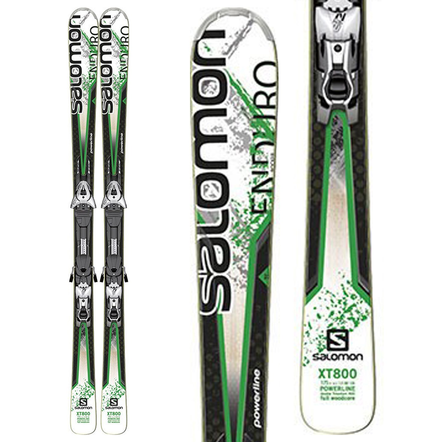 closer at new style official Salomon Enduro XT 800 Skis + Z12 Demo Bindings - Used 2013 ...