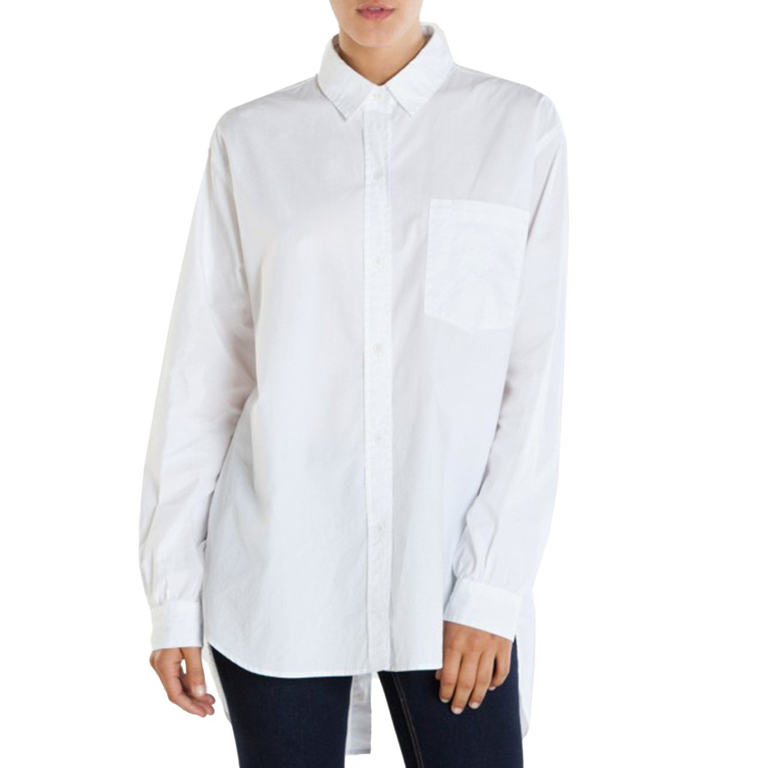 White long sleeve blouse womens trendy clothes for Women s button down dress shirts