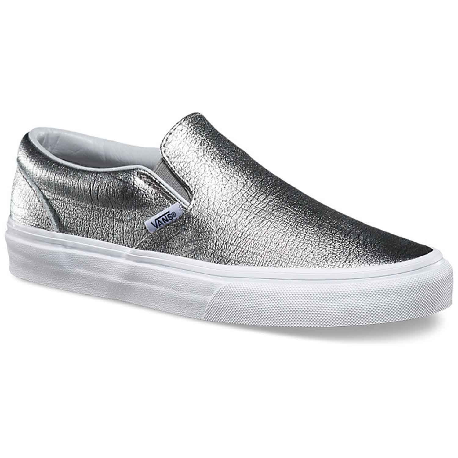 true girls metallic silver shoes on slip buy classic online vans white